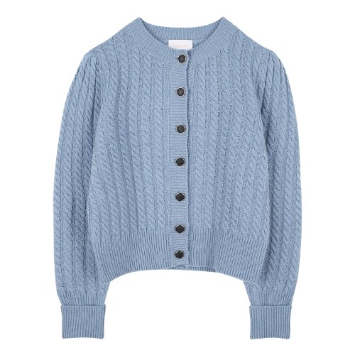 iuw877 twist round neck cardigan (skyblue)