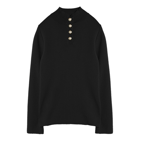 iuw0001 button-pearl knit top (black)