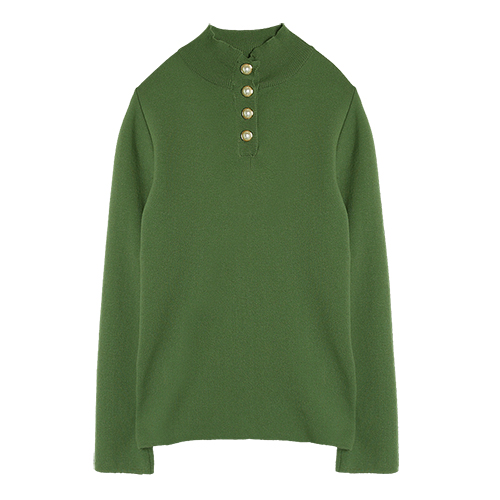 iuw0003 button-pearl knit top (khaki)