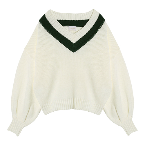 iuw0006 ballon-sleeved v-neck knit top (ivory)