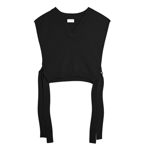 iuw0008 tie-side short vest knit top (black)