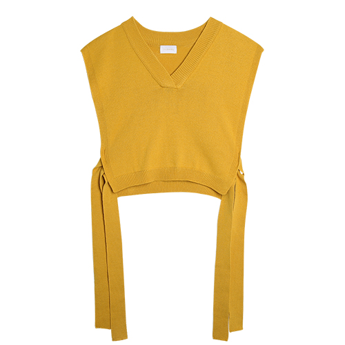 iuw0009 tie-side short vest knit top (yellow)
