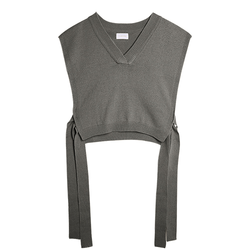 iuw0010 tie-side short vest knit top (gray)