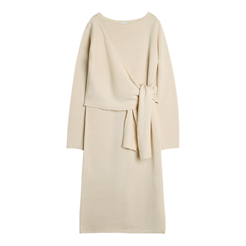 iuw0012 ribbed-knit wrap dress (beige)