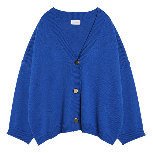 iuw0013 gold button ribbed cardigan (blue)