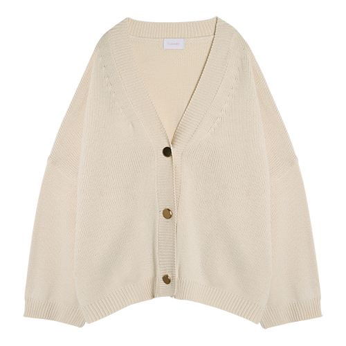 iuw0014 gold button ribbed cardigan (beige)