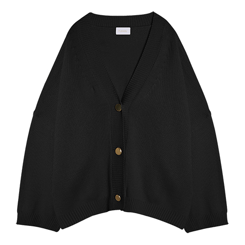 iuw0015 gold button ribbed cardigan (black)
