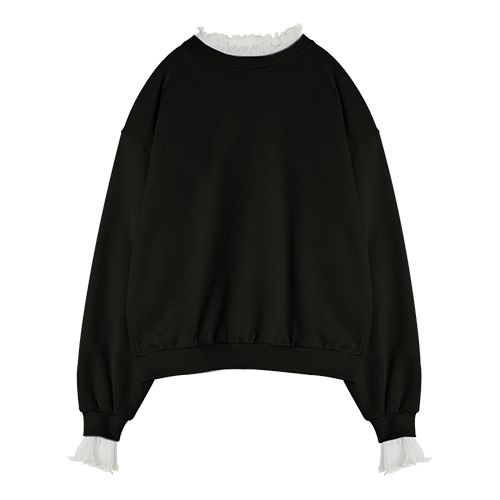 iuw0016 lace-neck sweatshirt (black)