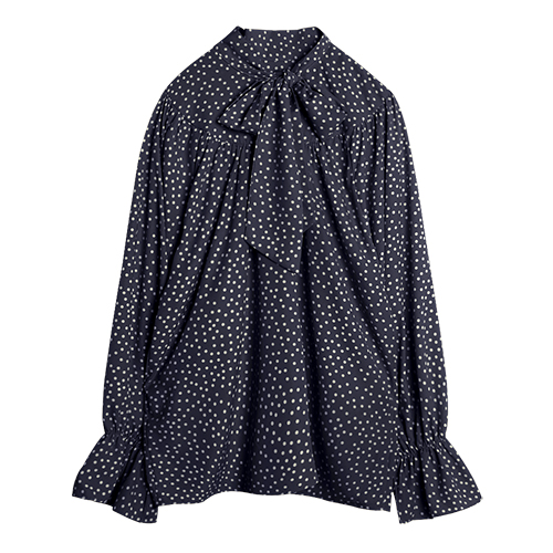 iuw0018 tie-neck dot blouse (navy)