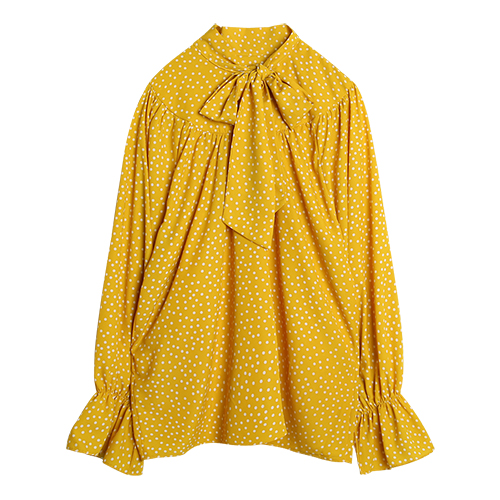 iuw0019 tie-neck dot blouse (yellow)