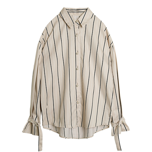 iuw0021 Button-peal striped shirts (beige)