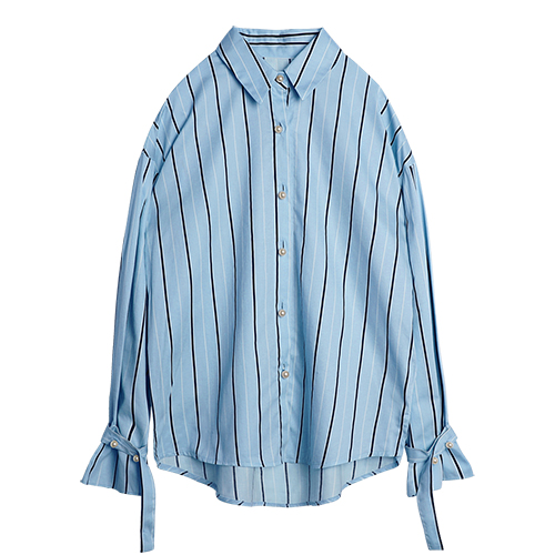 iuw0022 Button-pearl striped shirts (skyblue)