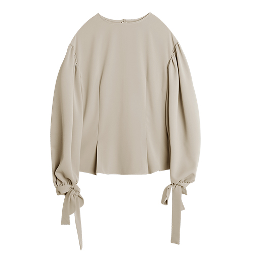 iuw0023 ballon-sleeved silk blouse (beige)