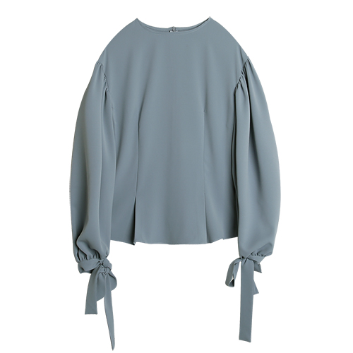 iuw0024 ballon-sleeved silk blouse (skyblue)
