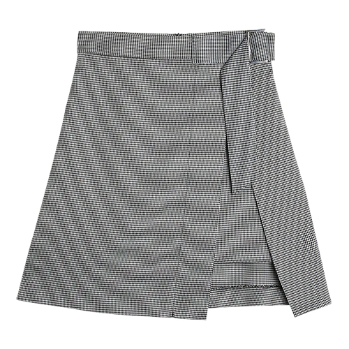 iuw0032 check wrap skirt