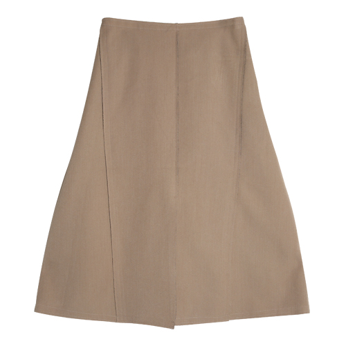 iuw0033 trimmed a-line cotton skirt (beige)