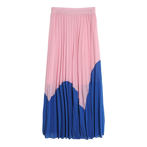 iuw0035 high-rise paneled pleated long skirt