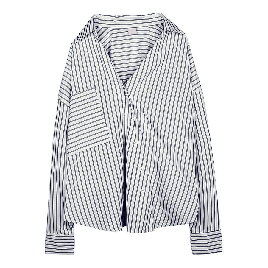 iuw0047 asymmetric striped shirts (navy)