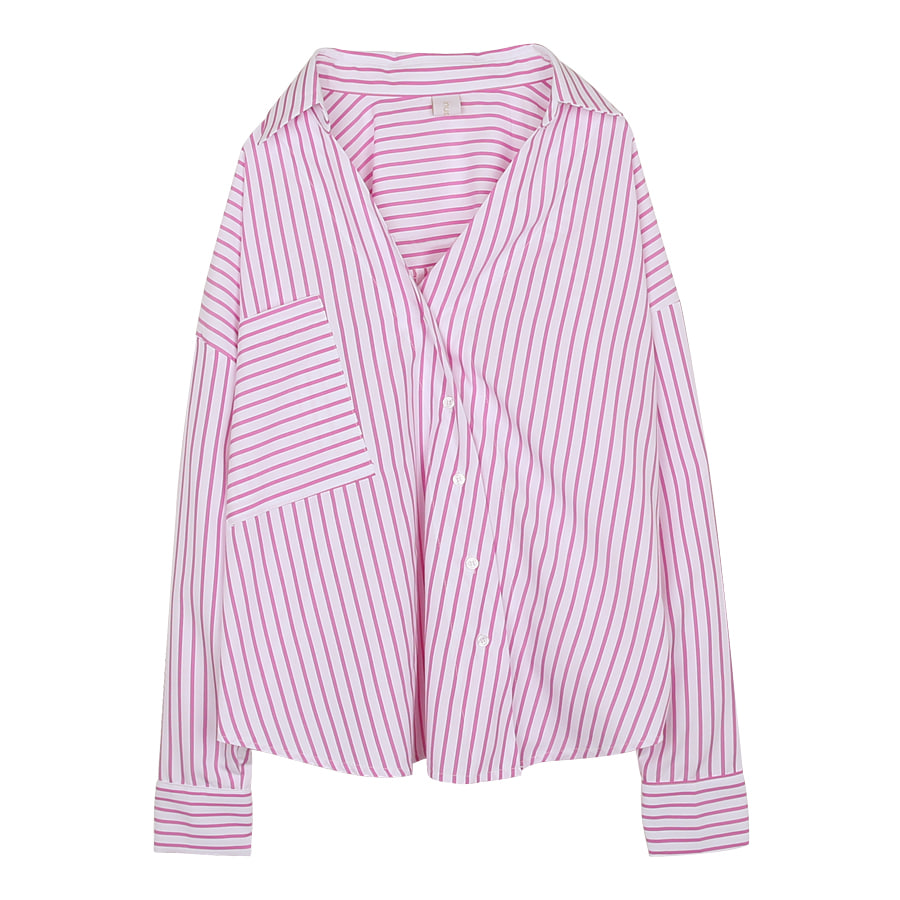 iuw0048 asymmetric striped shirts (purple)