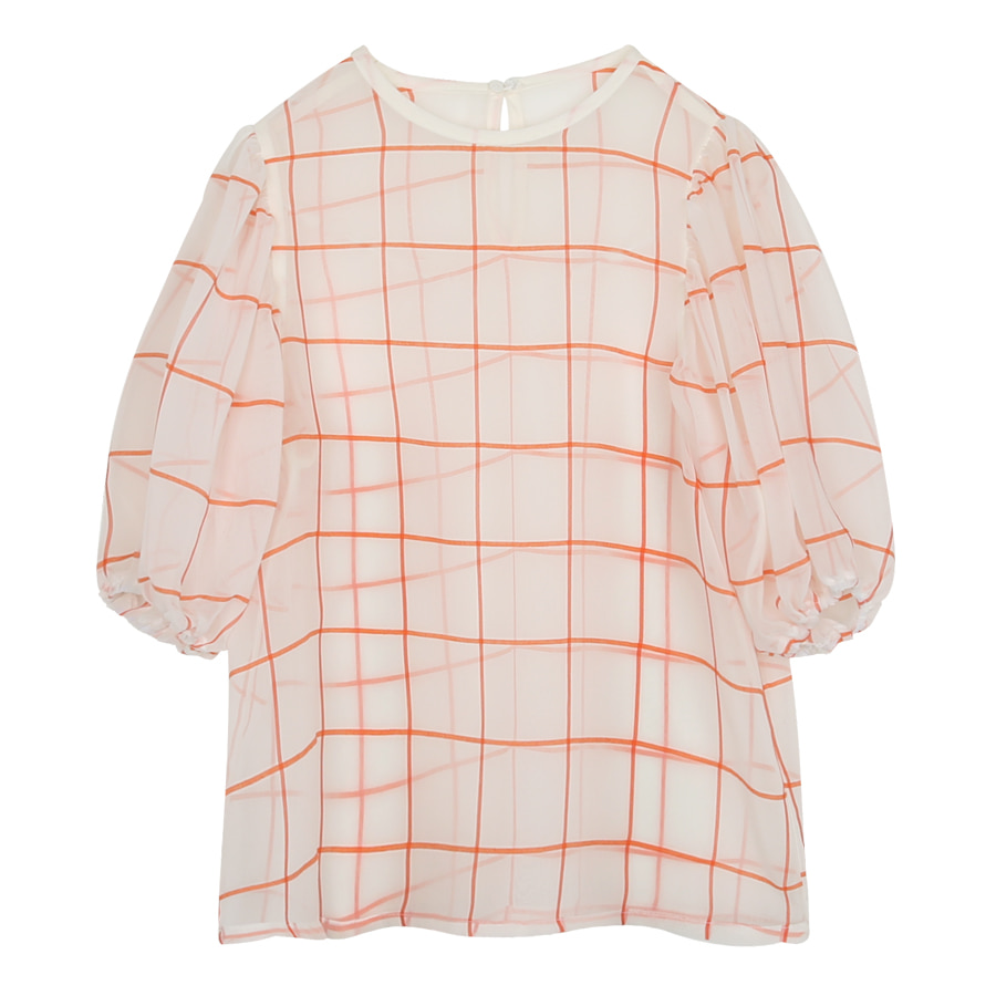 iuw0050 see-through check blouse