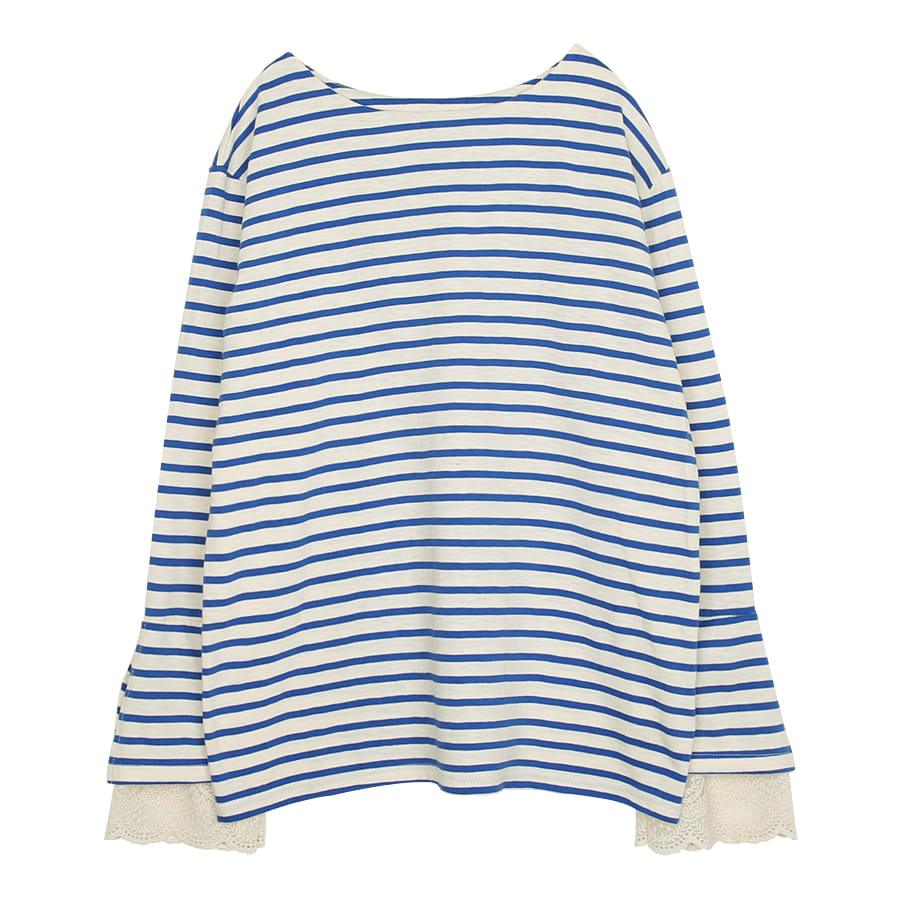 iuw0051 striped lace top (blue)
