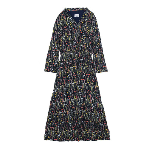 iuw0108 floral_print pleated dress (navy)