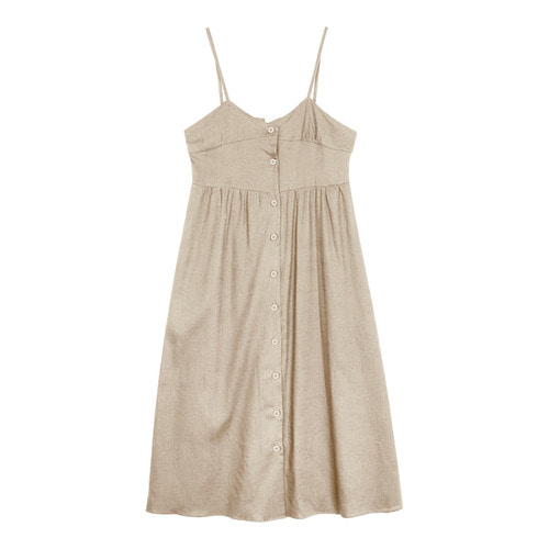iuw0110 button linen bustier dress (beige)
