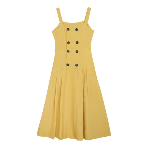 iuw0112 double-button sleeveless linen dress (yellow)