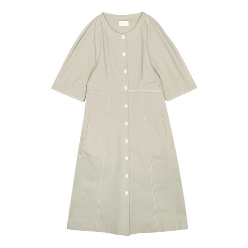iuw0113 stitch cotton dress (beige)
