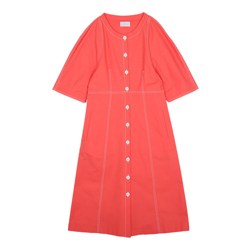 iuw0114 stitch cotton dress (pink)