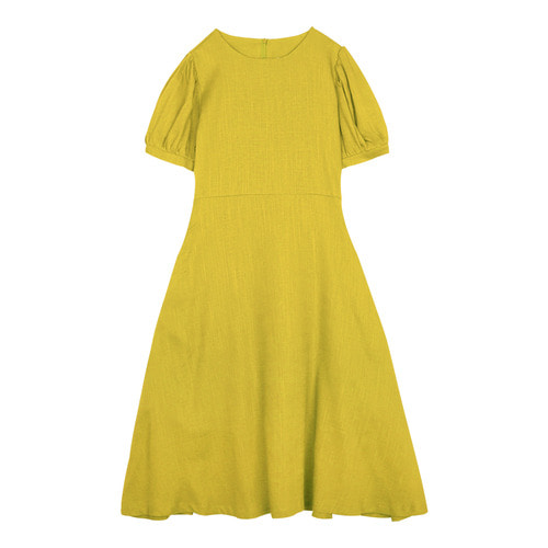 iuw0117 puff_sleeve linen dress (yellow)