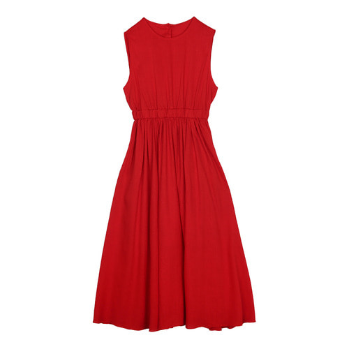 iuw0119 back_button linen dress (red)