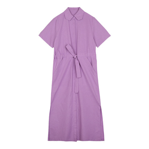 iuw0120 tie_waist cotton shirtdress (purple)
