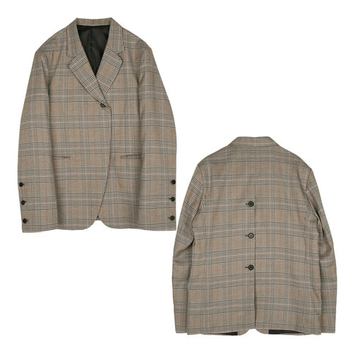iuw189 Back open-button jacket (check)