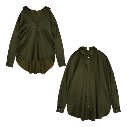 iuw171 double-faced blouse (olive)