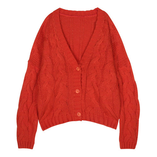 iuw164 twist overfit cardigan (orange)
