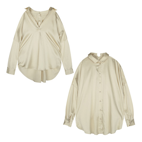 iuw170 double-faced blouse (ivory)