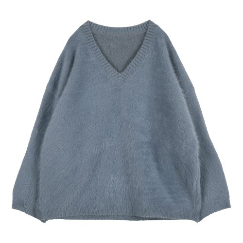iuw216 angora v-neck knit (blue)