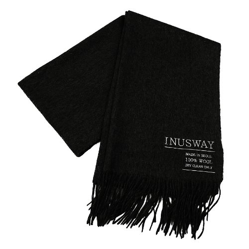 iuw252 logo double wool100% muffler (black)