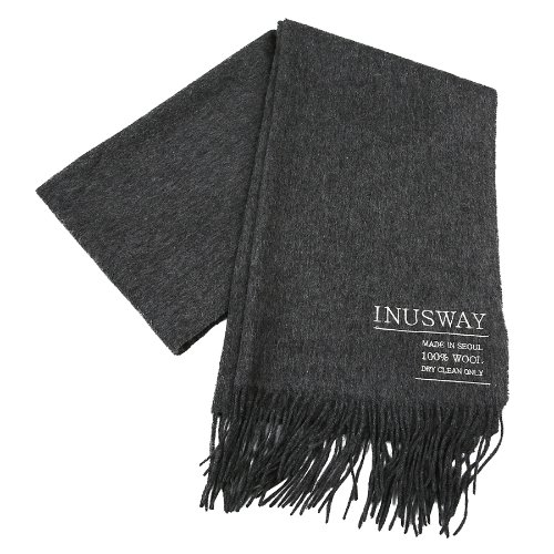 iuw254 logo double wool100% muffler (grey)