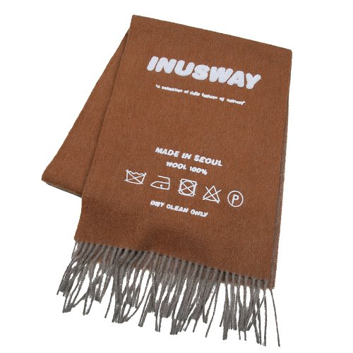 iuw256 IUW logo wool100% muffler (brown)