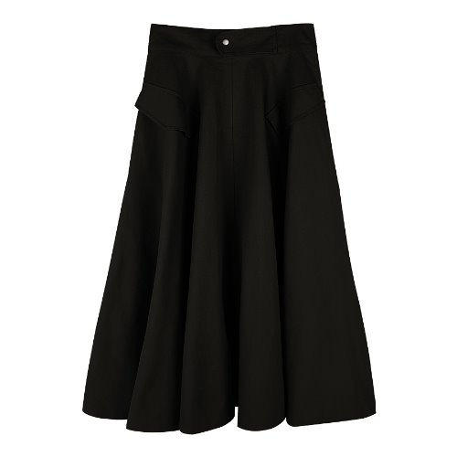 iuw317 Cotton long skirt (black)