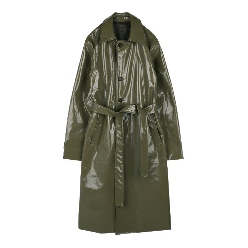 iuw358 Enamel long coat khaki