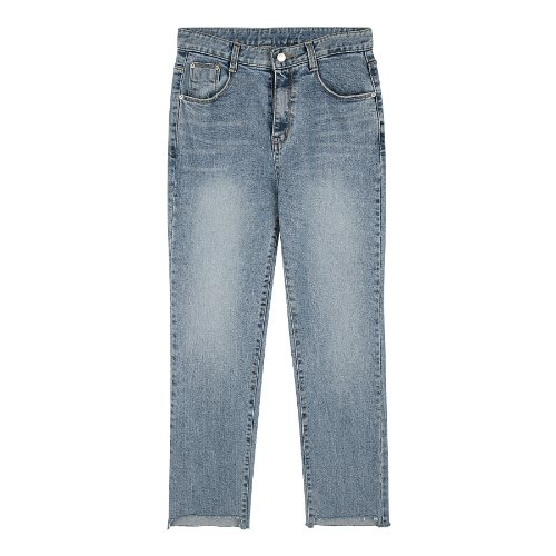 iuw322 Unbalenced-cut jeans (light blue)