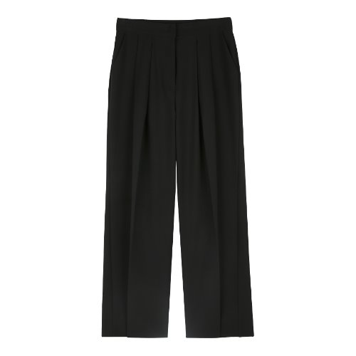 iuw319 Pintuck wide slacks (black)