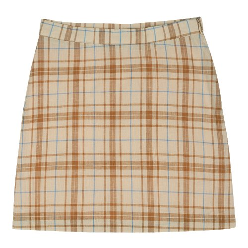 iuw370 Linen check skirt (beige)