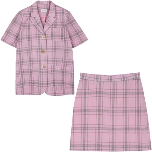 [Set3] Short sleeved jacket+Check skirt (pink)