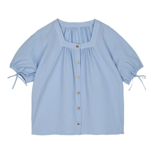 iuw413 Sleeve string blouse (blue)