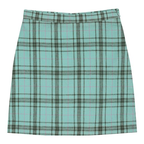 iuw368 Linen check skirt (mint)