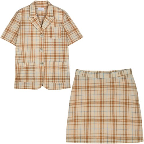 [Set1] Short sleeved jacket+Check skirt (beige)
